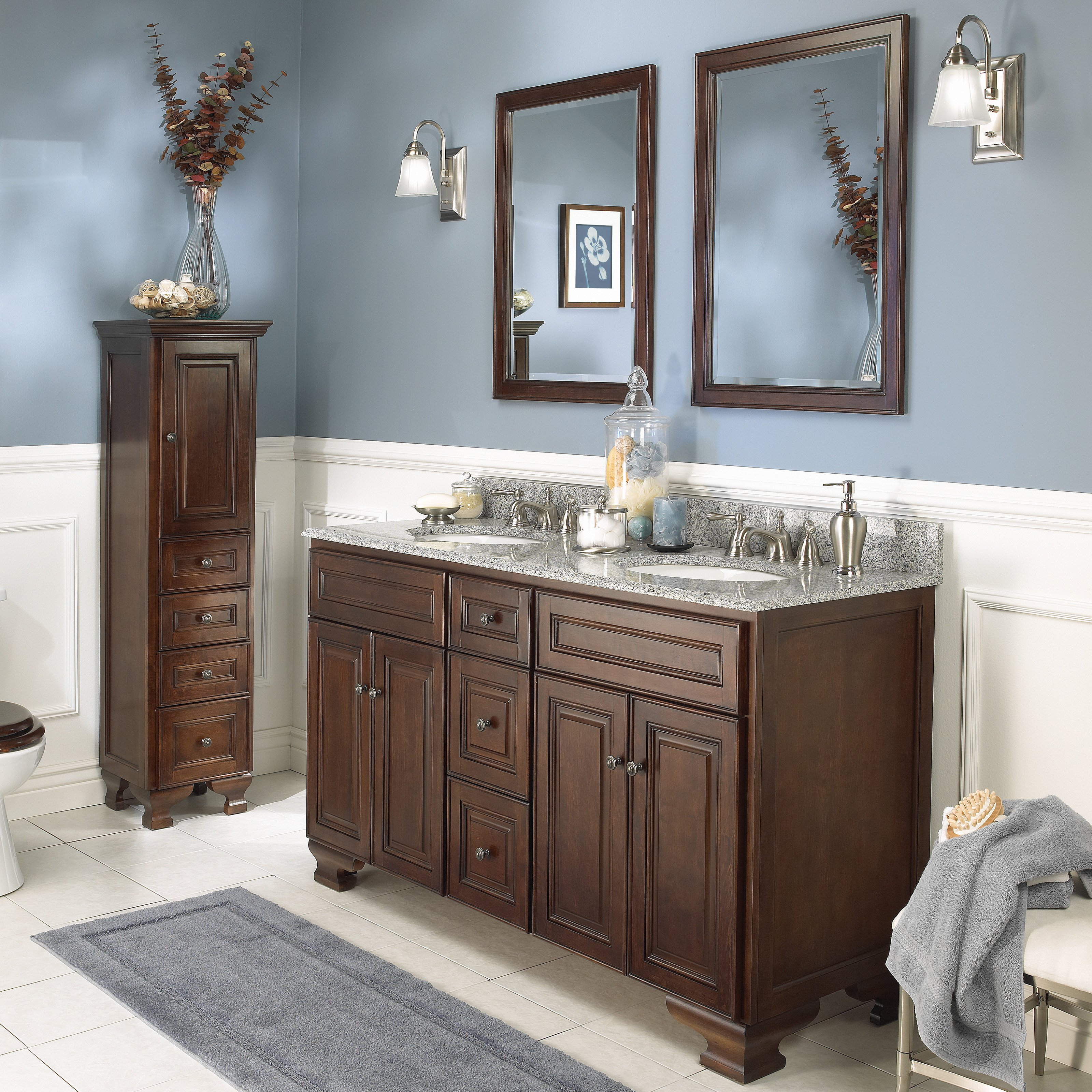 Foremost Hawthorne 60 in. Dark Walnut Double Bathroom Vanity with Mirrors