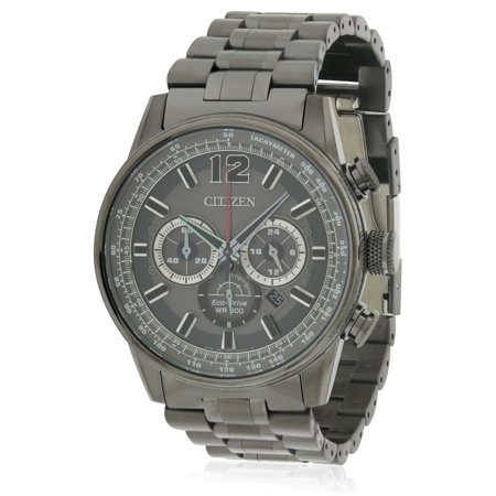 Eco-Drive Black Stainless Steel Chronograph Mens Watch (Black Ion Stainless Steel Watch)