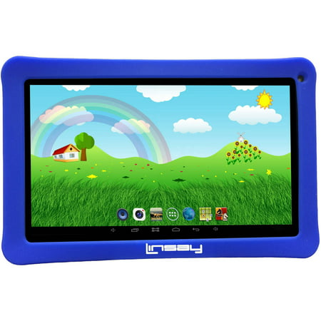 "LINSAY 10.1"" New Kids Funny Tablet 16 GB Android 6.0 with Blue Defender Case 1024 x 600 HD"