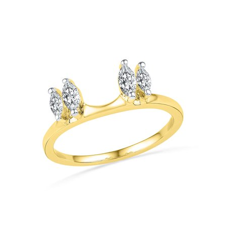 Gift Wrapped Heart Chastity Ring - 14kt Yellow Gold Womens Oval Diamond Ring Guard Wrap Solitaire Enhancer 1/2 Cttw Diamond Fine Jewelry Ideal Gifts For Women Gift Set From Heart