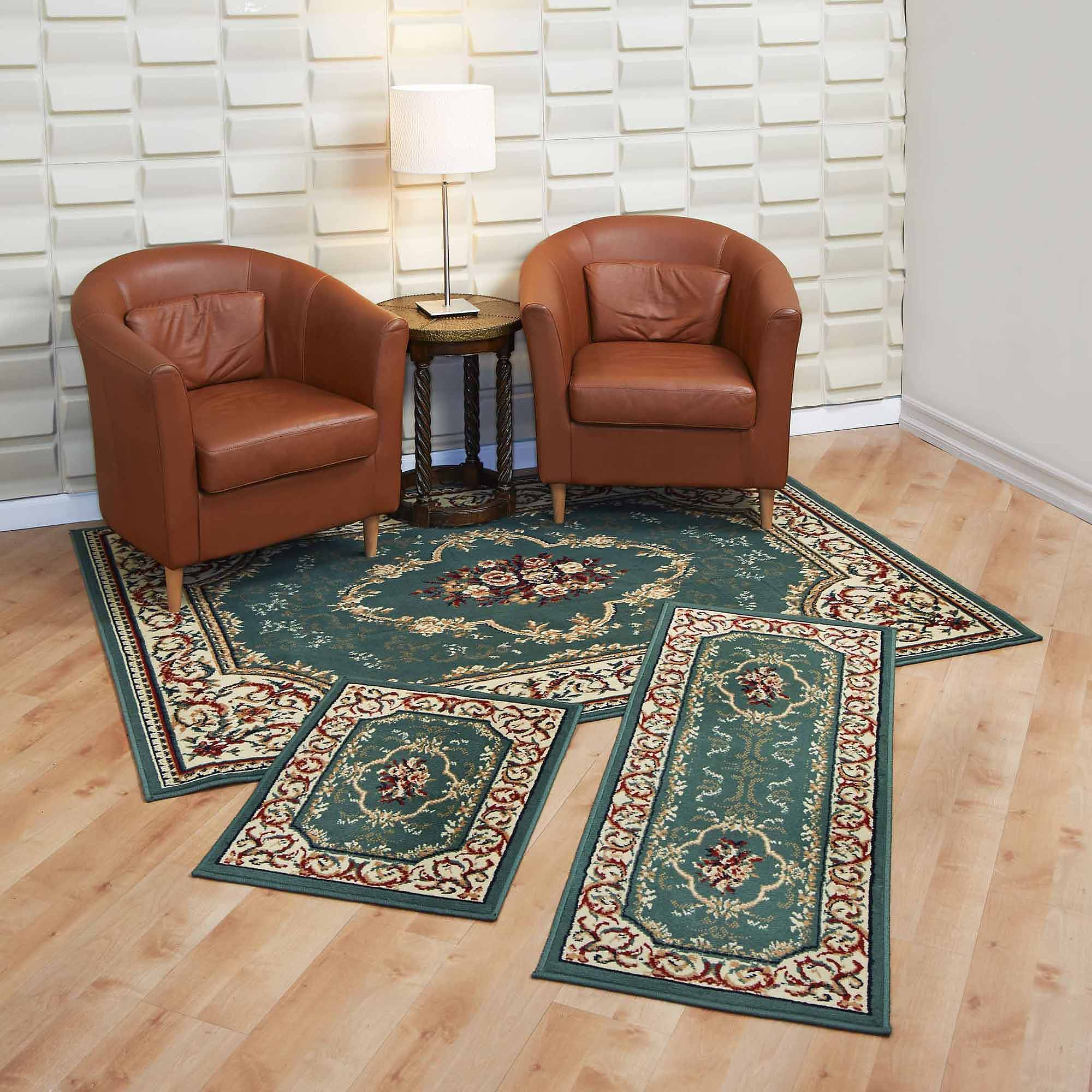 Area Rug Set 3 Pc Green Rose Garden Living Room Soft Pile