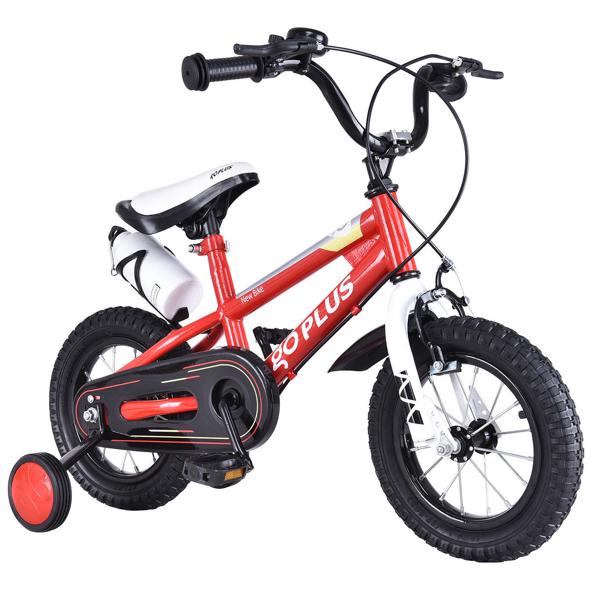 Goplus 16'' Freestyle Kids Bike Bicycle Children Boys & Girls w Training Wheels Red by Costway
