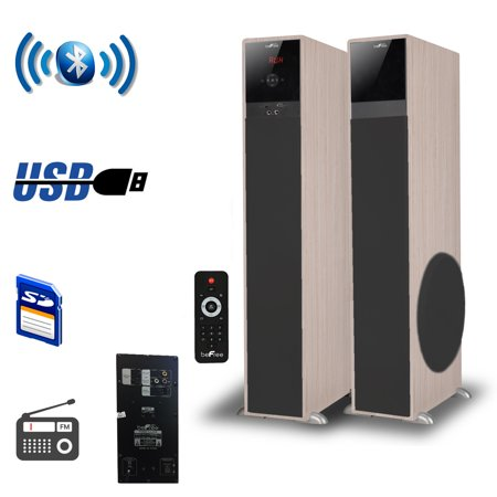 beFree Sound 2.1 Channel Bluetooth Tower Speakers – Wood