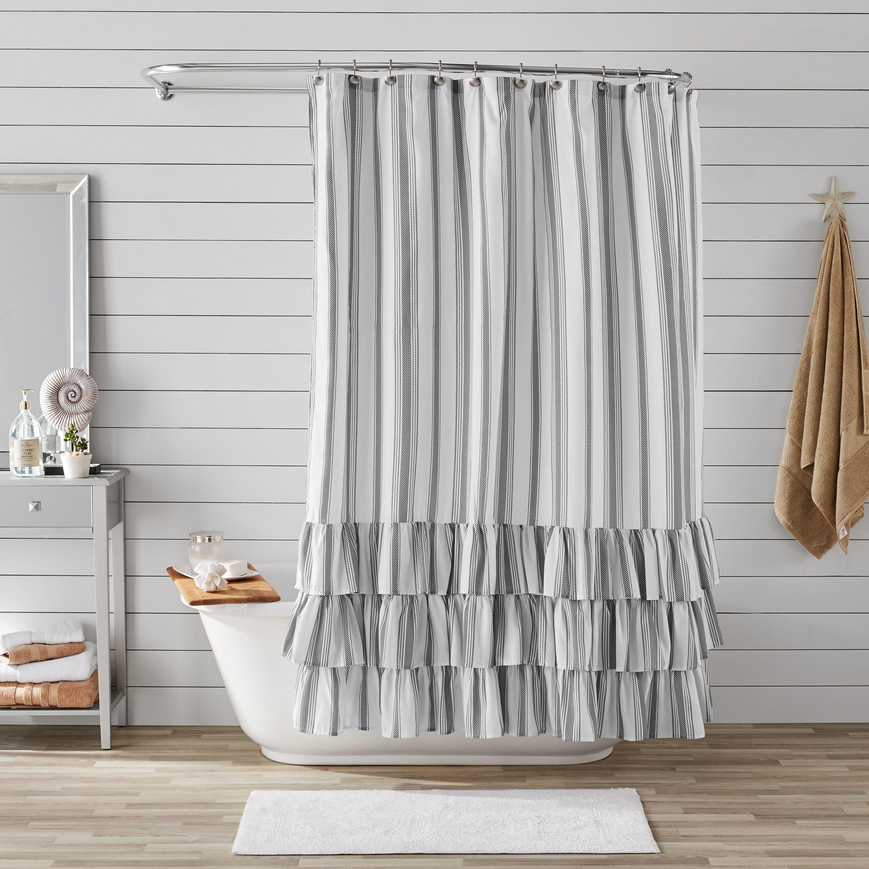 Better Homes Gardens Striped Ruffle Shower Curtain 72 X 72 Walmart Com Walmart Com