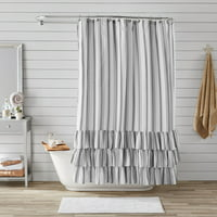 "Better Homes & Gardens Striped Ruffle Shower Curtain, 72"" x 72"""