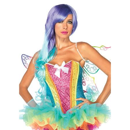 Leg Avenue Rainbow Sequin Corset Adult Halloween Costume