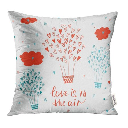 CMFUN Love Is in the Air Stylish Typographic About Inspirational Valentines Day Save Pillowcase Cushion Cover 18x18 inch