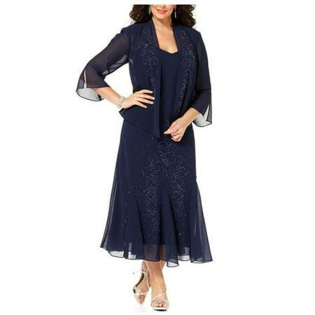 470c7cfbff R M Richards - R M Richards Women s Plus Size Beaded Jacket Dress - Mother  of the Bride Dresses - Walmart.com