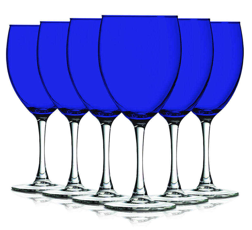 Colored Nuance Wine Glassware 10 oz. set of 6- Additional Vibrant Colors Available Blue by TableTop King