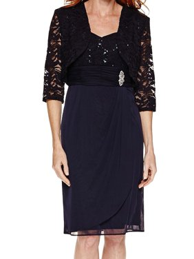 d390c6239a70 Product Image R&M Richards NEW Blue Womens Size 8 Sequined Lace Sheath  Dress Set