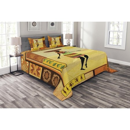 African Bedspread Set, African Girl Dressed in Ethnic under Sun Figure Folk Culture Tribal Inspirations Display, Decorative Quilted Coverlet Set with Pillow Shams Included, Multi, by Ambesonne ()