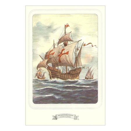 Columbus Caravels, Nina, Pinta, Santa Maria Print Wall