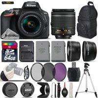 Nikon D5600 Digital SLR Camera +3 Lens 18-55mm VR + Extra Battery - 64GB Bundle