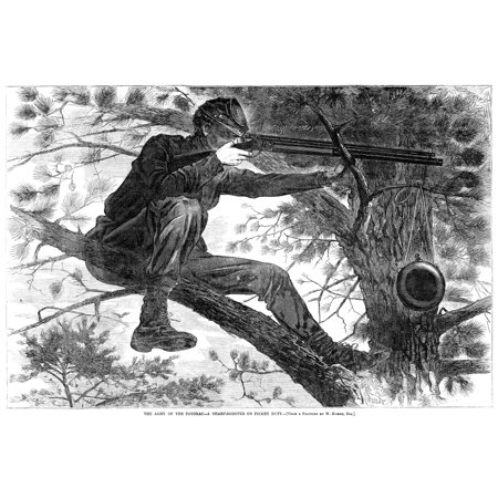 Homer Civil War 1862 Na Union Sharpshooter On Picket Duty Wood Engraving 1862 After A Painting By Winslow Homer Rolled Canvas Art -  (18 x -