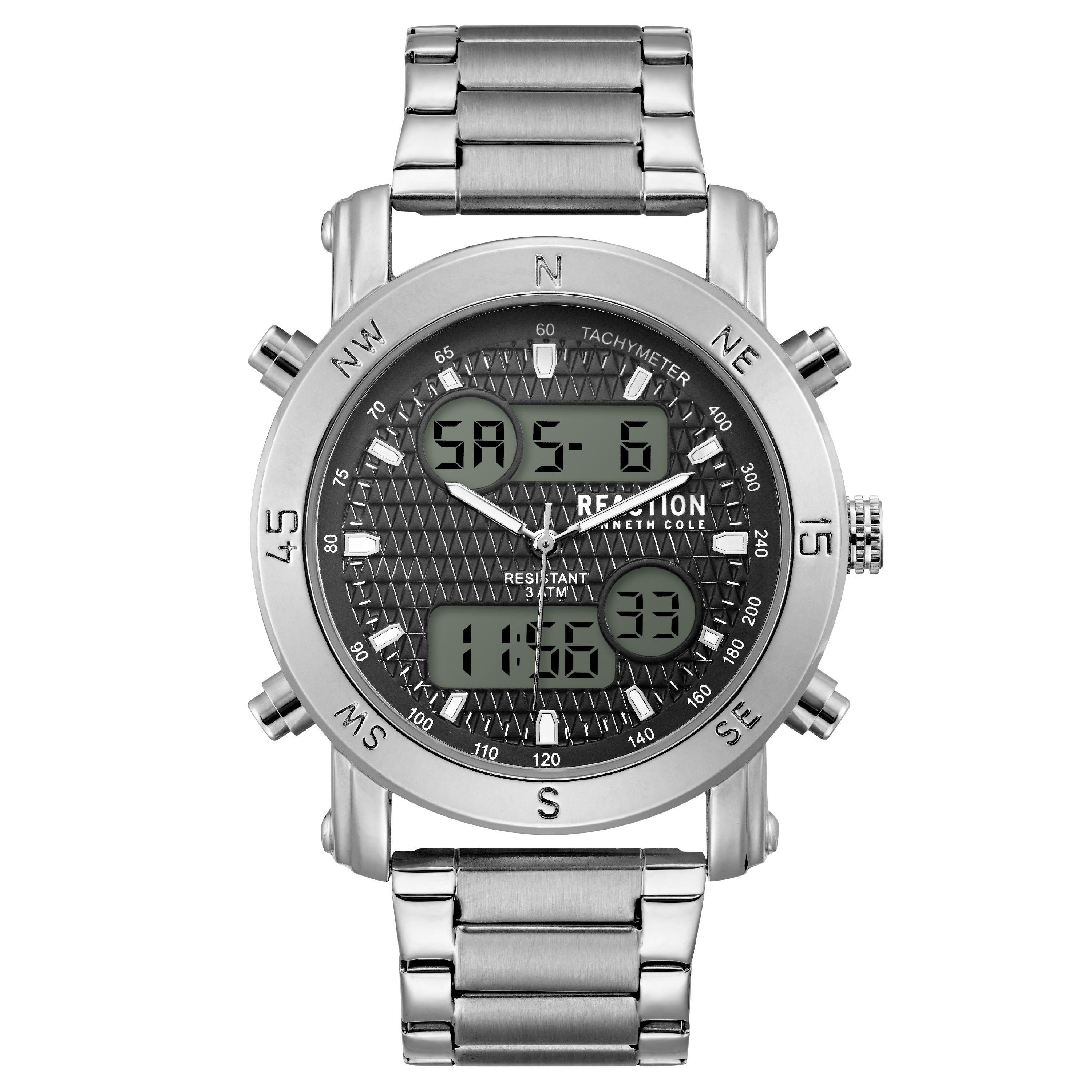 21e8a7cedb0 Kenneth cole reaction kenneth cole reaction mens silver case black dial  silver bracelet watch jpeg 450x450