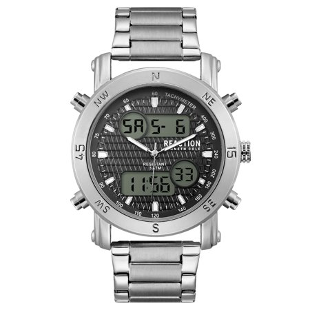 65836bde8 Kenneth Cole Reaction Men's Silver Case Black Dial Silver Bracelet Watch  Image 1 ...
