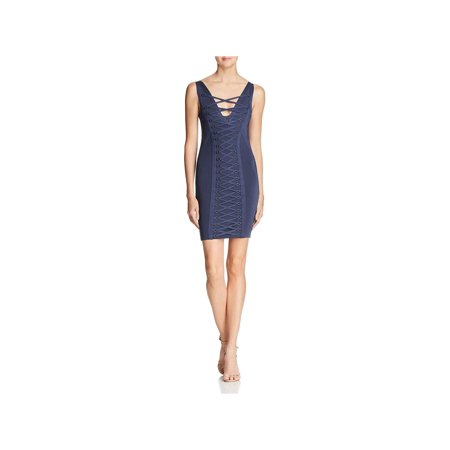 Guess Womens Mirage Lace-Up V-Neck Bodycon (Mirage Dress)