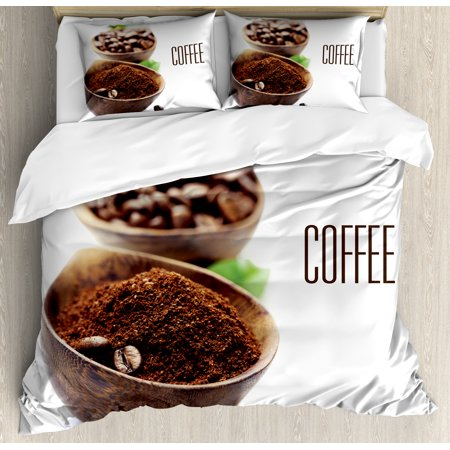 Three Light Decorative Bowl (Coffee King Size Duvet Cover Set, Ground Coffee in Wooden Bowl Grinding Process Leaf Ingredient Vintage Design, Decorative 3 Piece Bedding Set with 2 Pillow Shams, Brown Green White, by)
