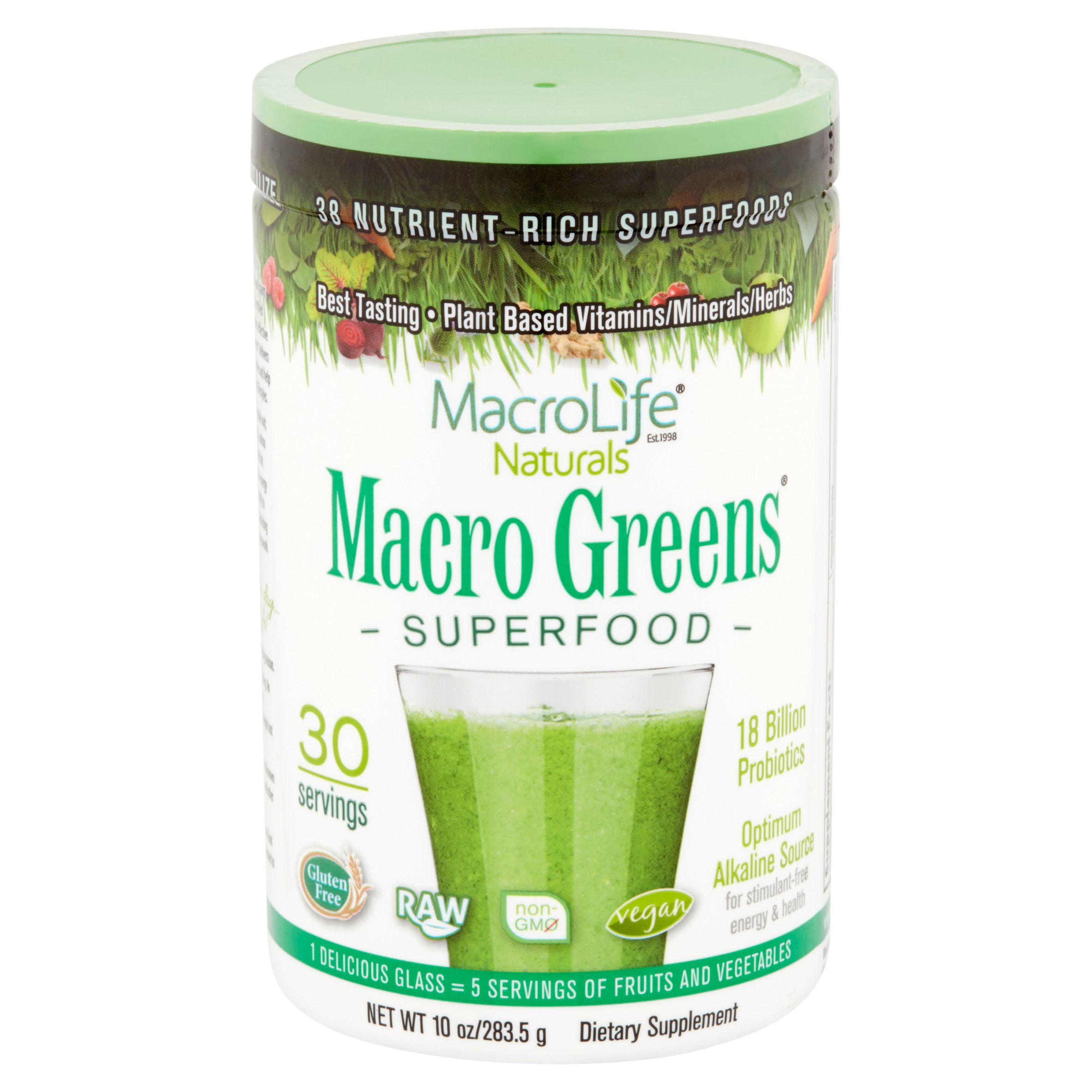 MacroLife Naturals Macro Greens Superfood Powder, 10.0 Oz