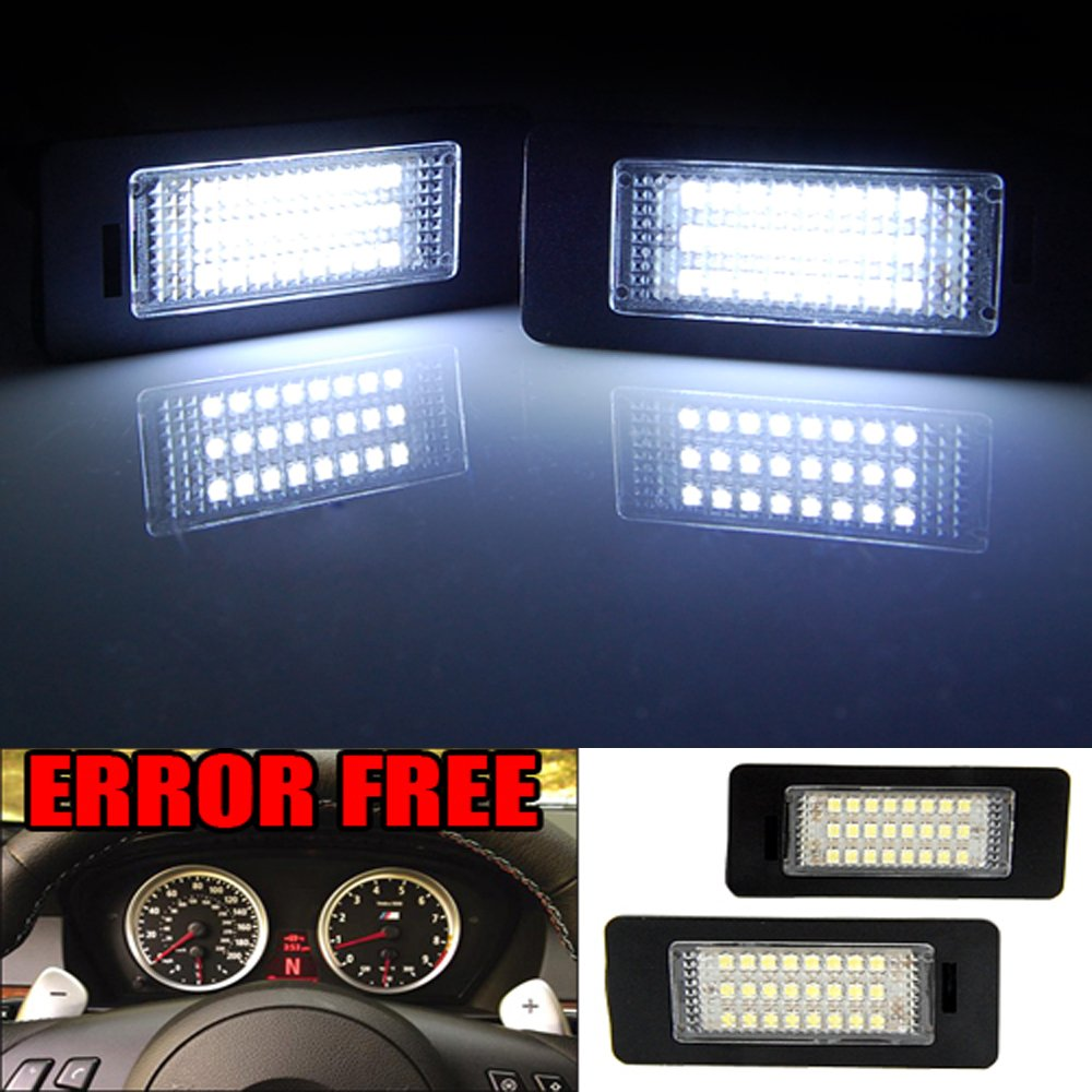 GTP 24 LED License Plate Light for BMW 1//2//3//4//5//X Series X5 X6 M3 M4 E39 E60 E70 E71 E82 E90 E92 F32 F35 6000K White Error Free Rear Number Plate Tag Lamp Direct Replacement