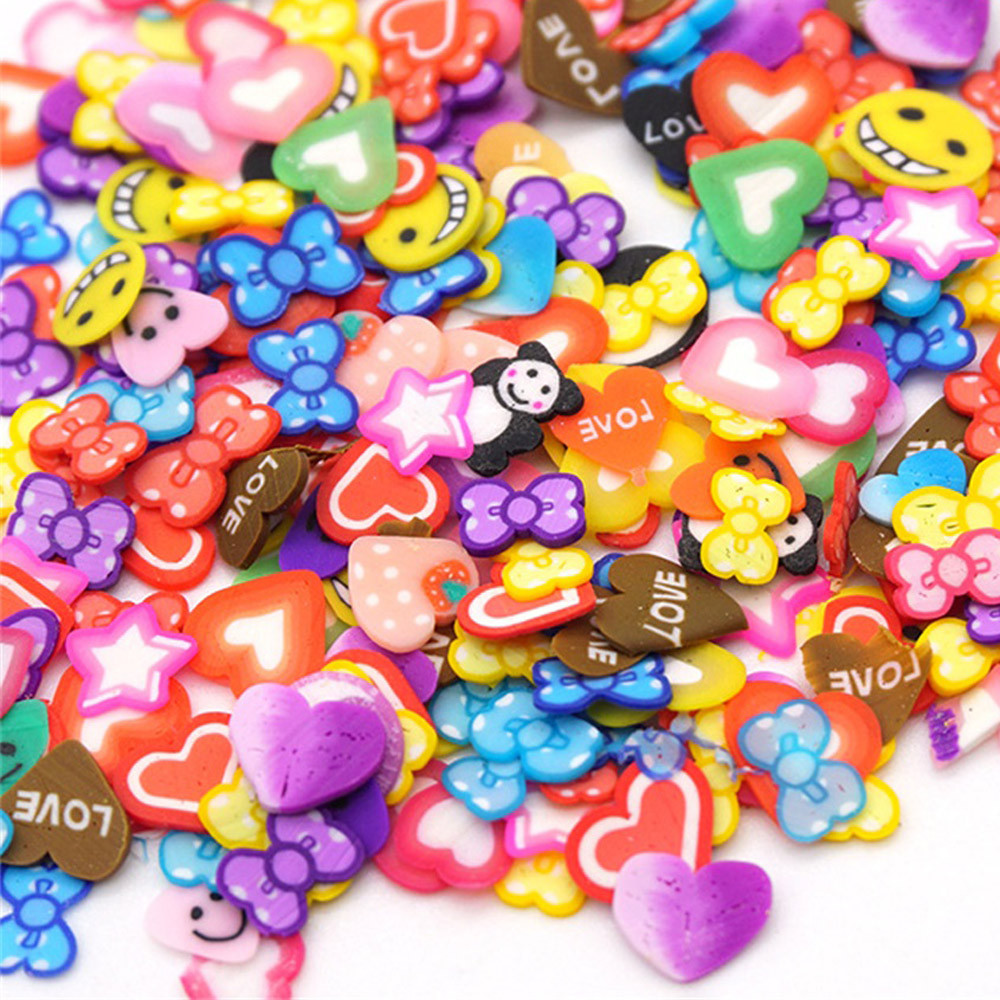 Mosunx 50PCS Colorful DIY 3D FIMO Slice Face Decoration for Homemade Slime Making Craft