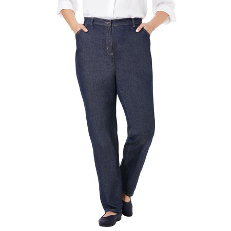Woman Within Women's Plus Size Tall Back-Elastic Straight Leg Cotton Jean Tall Straight Leg Jean