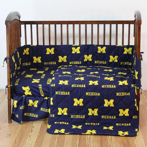 Michigan 5 Pc Baby Crib Logo Bedding Set