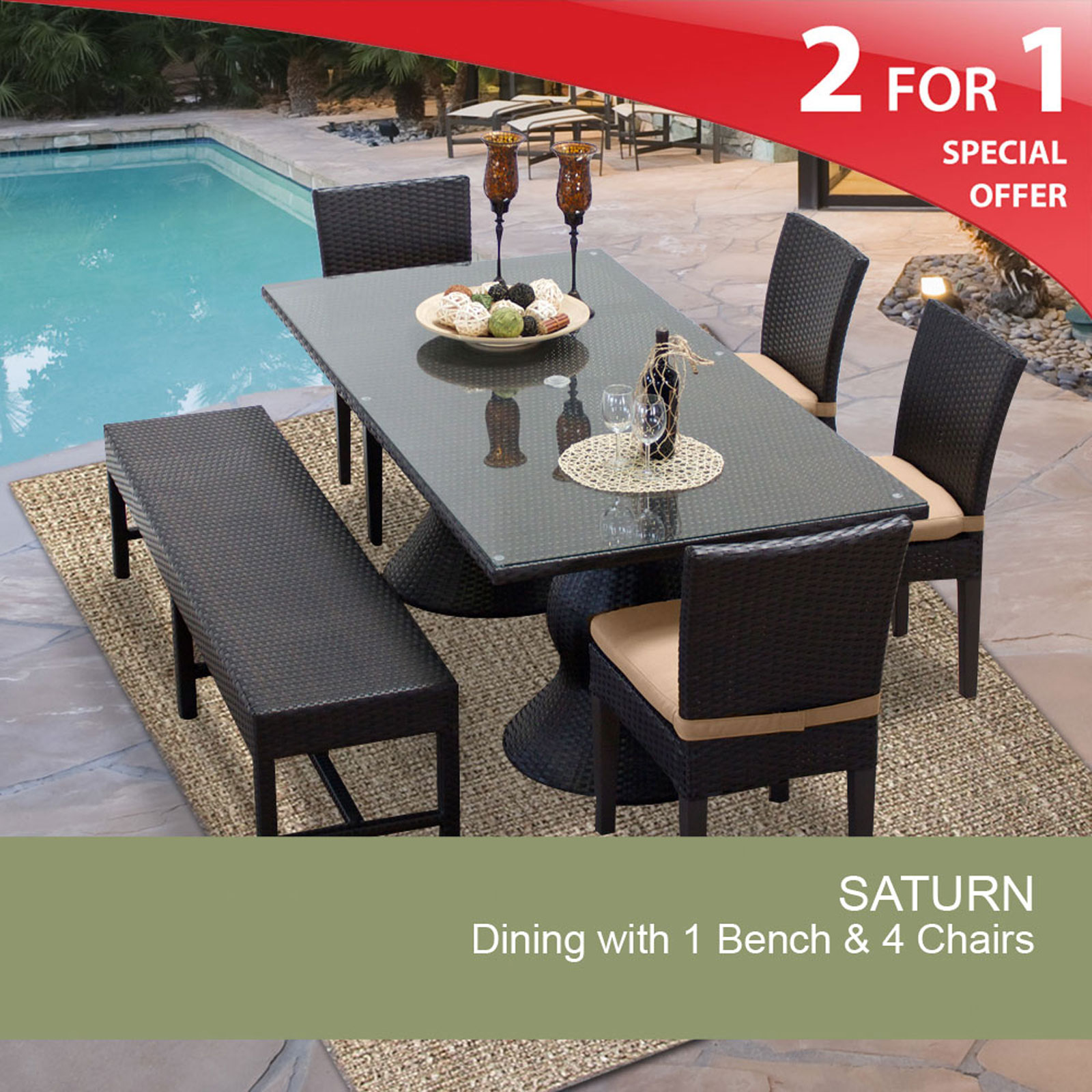 Saturn rectangular outdoor patio dining table with 4 chairs and 1 bench walmart com