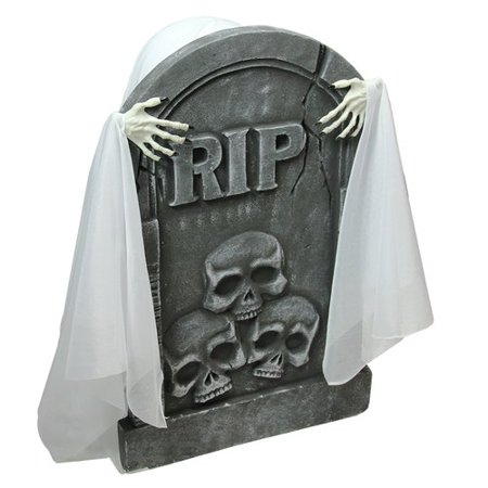 Northlight Seasonal Lighted Rising Ghost Behind a Tombstone Animated Halloween Decoration with Sound](Tombstone Epitaphs For Halloween)