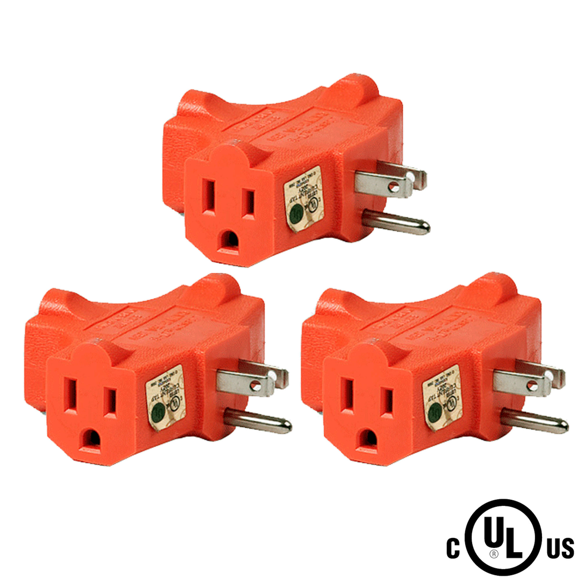 (3-Pack) Uninex T-shape Triple (3) Outlet Heavy Duty Grounded Wall Plug Tap Adapter Orange