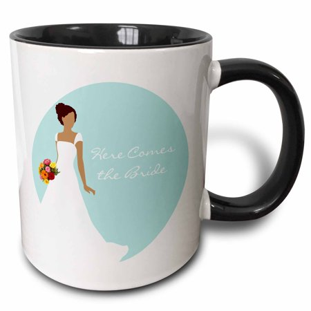 (3dRose Here Comes the African American - Brunette Bride Blue - Two Tone Black Mug, 11-ounce)