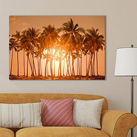 Canvas Prints Wall Art - Beautiful Scenery/Landscape Palm Trees on Tropical Beach Nature Beauty | Modern Wall Decor/Home Decoration Stretched Gallery Canvas Wrap Print & Ready to Hang - 16