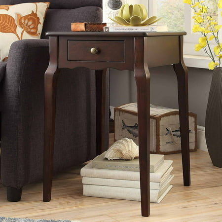 Weston Home Catalpa Wood End Table with Drawer, Multiple Table Finishes ()