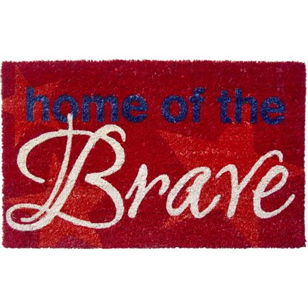 Entryways Home of The Brave Hand Woven Coir Doormat, 17 x 28 Inch ()