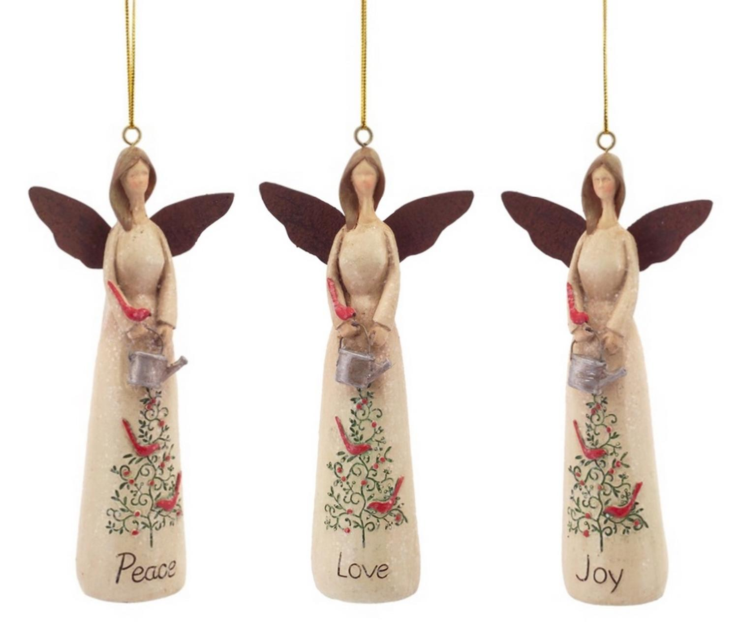 Pack Of 6 Peace, Joy, And Love Angel Christmas Ornaments 6
