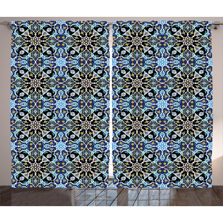 Moroccan Curtains 2 Panels Set, Bohemian Eastern Arabic Pattern with Interlacing Lines Historical Roman Influences, Window Drapes for Living Room Bedroom, 108W X 90L Inches, Royal Blue, by Ambesonne
