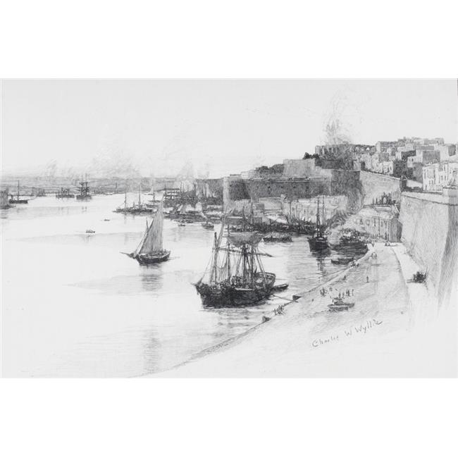 Posterazzi DPI1858967LARGE The Quays of The Grand Harbour At Valletta Malta by Charles William Wyllie From The Picturesque Mediterranean Circa Poster Print, Large - 34 x 22 - image 1 of 1