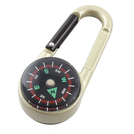 - Unique Bargains Camping Hiking Travel Portable Thermometer Compass Carabiner Black Light Green