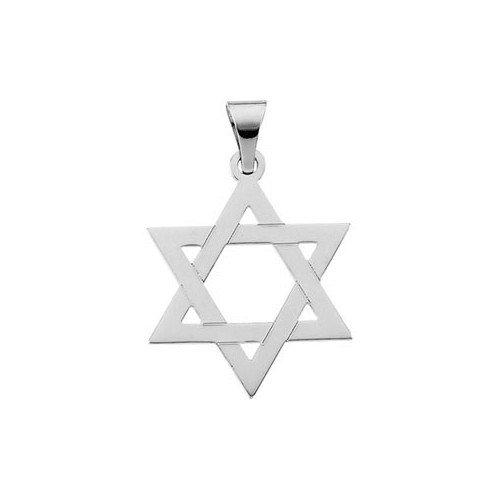 Jewelryweb 14k White Gold Star Of David Pendant25x19mm