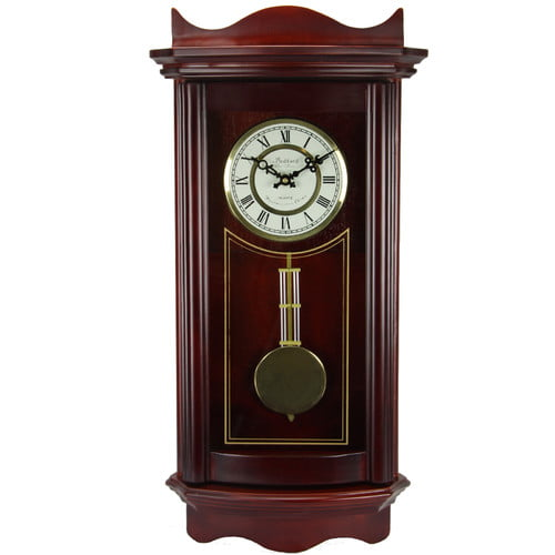 "Bedford Clock Collection Weathered Cherry Wood 25"" Wall Clock with Pendulum by Bedford Clock Collection"