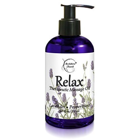 Relax Therapeutic Body Massage Oil - With Best Essential Oils for Sore Muscles & Stiffness - Lavender, Peppermint & Marjoram - All Natural - With Sweet Almond, Grapeseed & Jojoba Oil