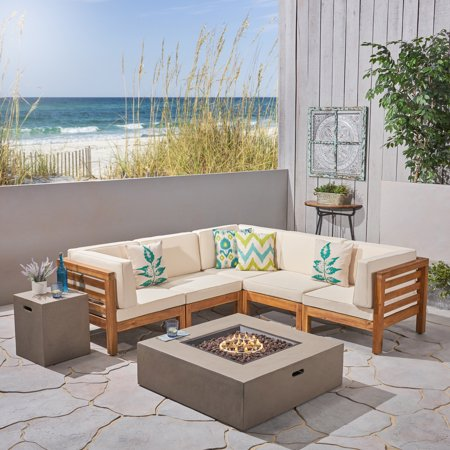 Frankie Outdoor 7 Piece Acacia Wood V-Shaped Sectional Sofa Set with  Cushions and Fire Pit, Teak, Beige, Light Gray
