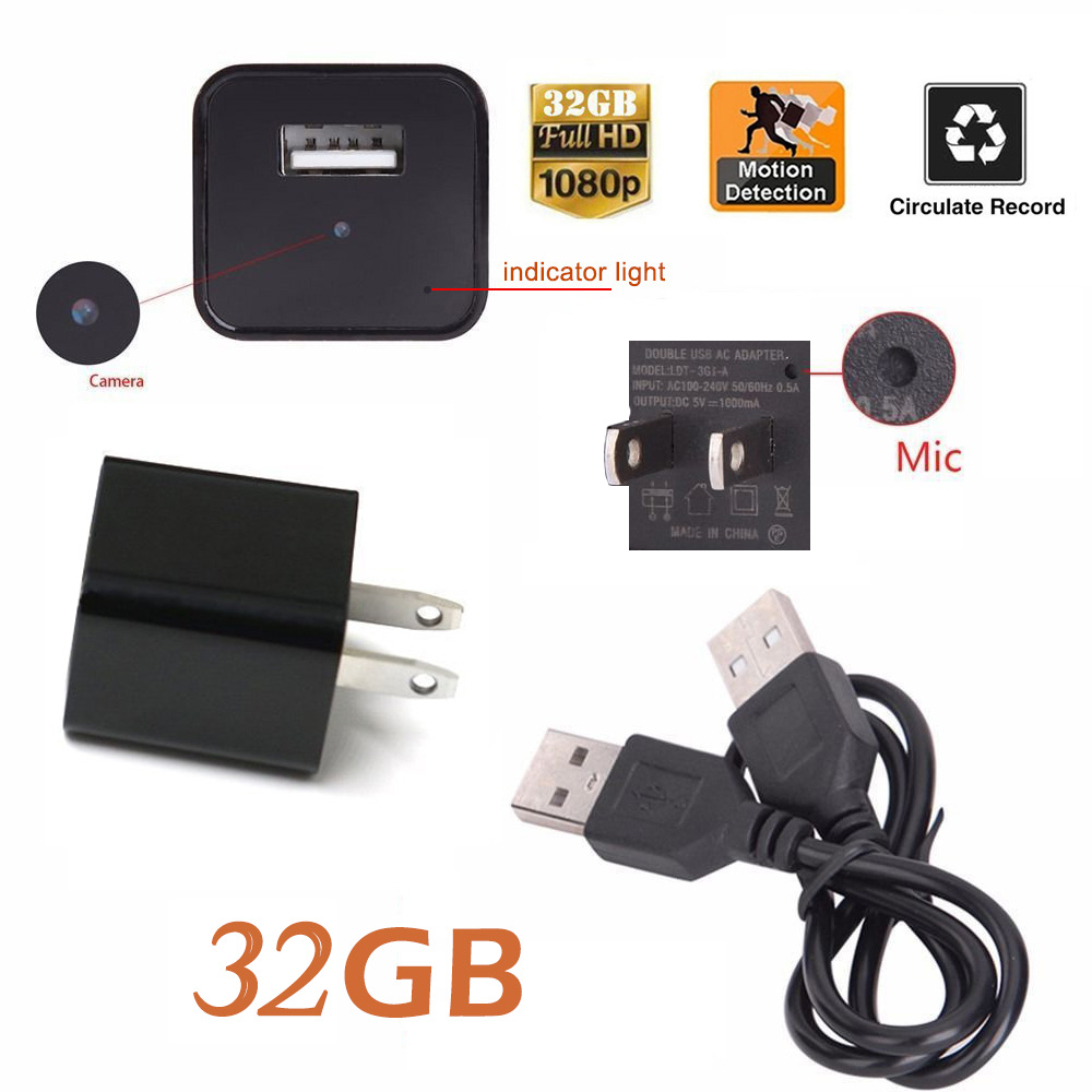 NEW 32GB Hidden Motion Detection Spy Camera Real USB AC Adapter Wall Plug char ger Camcorder DV Surveillance 1080P Hidden Spy Wall Camera Video Recorder Loop Record For Home Security Nanny Spy Camera