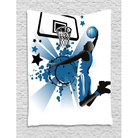 Teen Room Decor Tapestry, Silhouette of Basketball Player Jumping Success Stars Illustration, Wall Hanging for Bedroom Living Room Dorm Decor, 40W X 60L Inches, Black Violet Blue, by Ambesonne for $<!---->