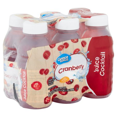 Great Value Cranberry Juice Cocktail, 10 Fl. Oz., 6