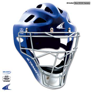 Gem Gloss Pro-Plus Catchers Style Headgear- Adult 7-7 1/2, Royal Blue/Silver