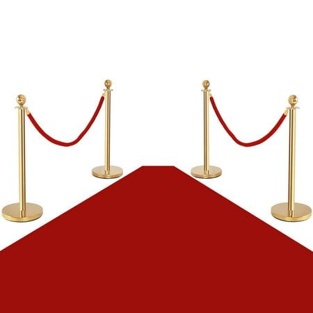 Costway 4Pcs Stanchion Posts Queue Pole Retractable 2 Velvet Ropes Crowd Control Barrier for $<!---->