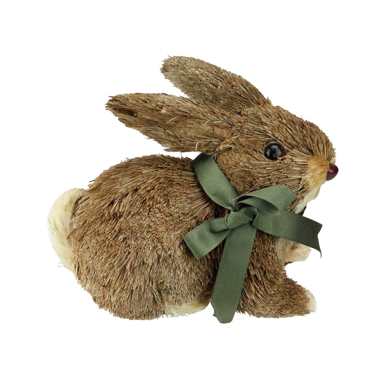 """8"""" Springtime Easter Brown Sisal Laying Bunny Rabbit"""