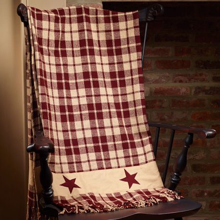 Burgundy Farmhouse Star Throw