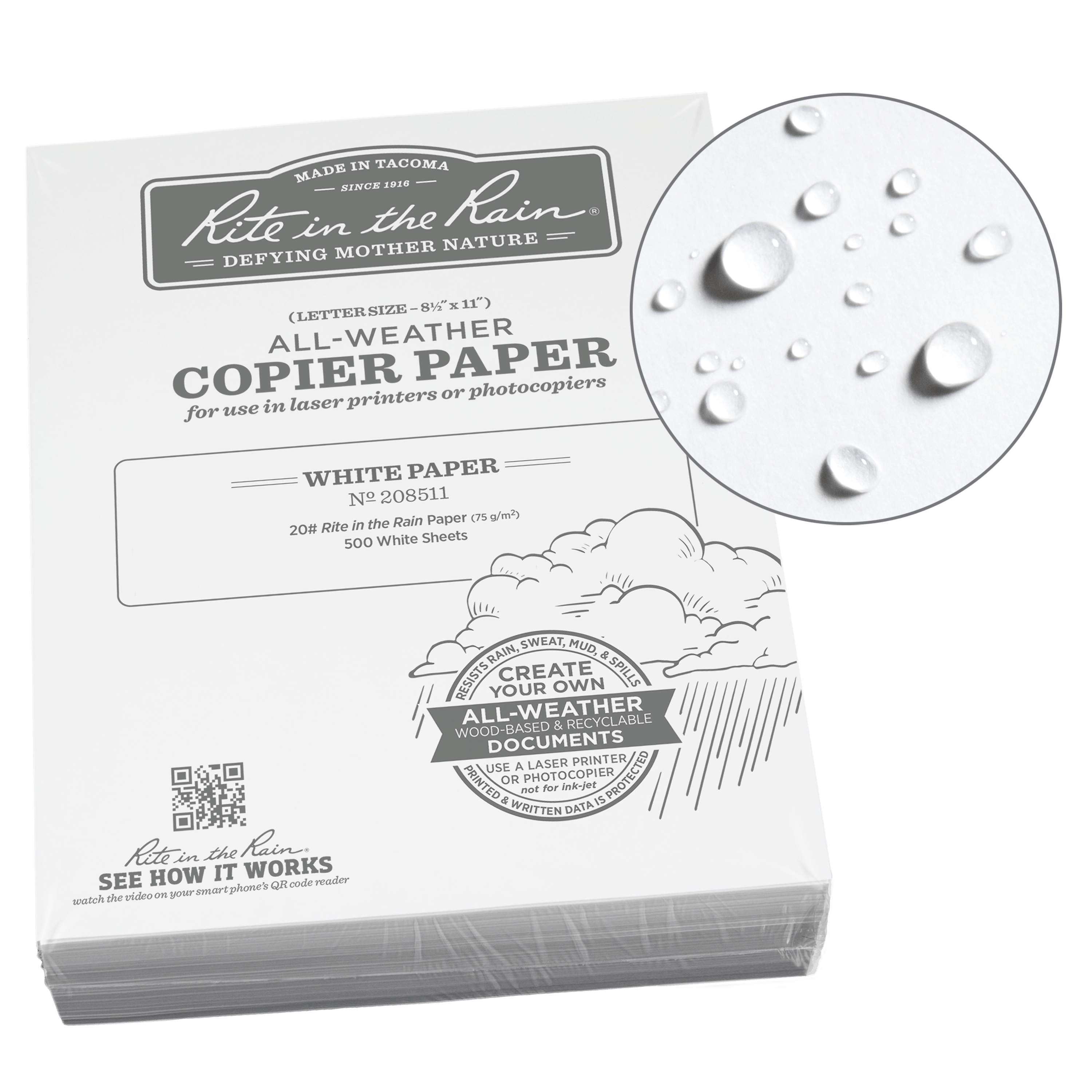 "Rite in the Rain All-Weather Bulk Copier Paper, 8 1/2"" x 11"", 20# White, 500 Sheet Pack (No. 208511)"